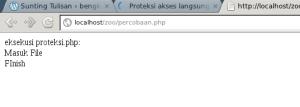 proteksi.php dapat dieksekusi melalui file percobaan.php