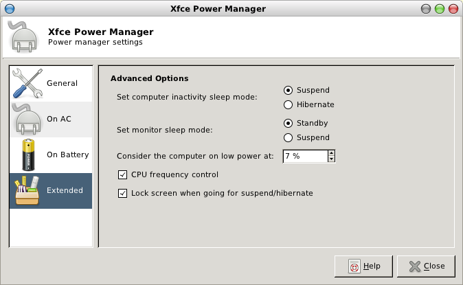 Xfce Power Manager