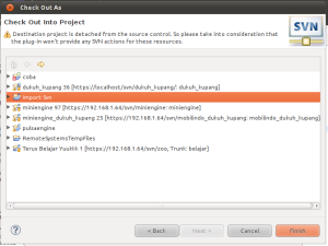 Pilih project yang dikehendaki untuk di import source dari SVN server/repository